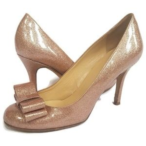 Kate Spade Pink Sparkle Krysta Heels With Bow